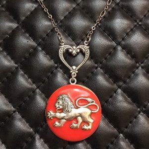Free People Boho Renaissance Lion Locket Necklace